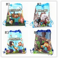 cartoon bags - 10pcs New Minecraft Storage bag Minecraft Drawstring bags Non woven Minions shopping bag Cartoon Minions storage bags