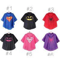 Wholesale 2015 color DHL fast ship MOQ superman batman spiderman superhero kids waterproof Rain Coat Raincoat Rainwear with bags TOPB2788