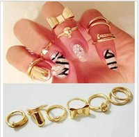 Wholesale 7Pcs set Punk Promotion Gold Color Skull Bowknot Heart finger nail rings hot Simple Band Midi Finger Top Stacking middle Rings Set for Women