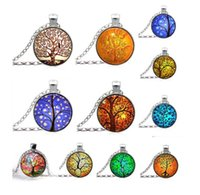 art glass jewellery - Tree of Life Necklace Pendant Jewelry art and the thought of the tree Silver Family Christmas Style Charm Jewellery Gift new arrival