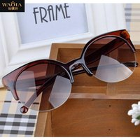 Wholesale Fashion Vintage Sunglasses Retro Cat Eye Semi Rim Round Sunglasses for Men Women Glasses Eyewear Eyeglasses Y52 MPJ093 M5