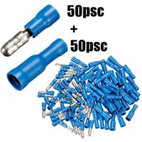 Wholesale 100pcs Pairs Female Male Insulated Bullet Terminal Electrical Crimp Connector Assortment Kit mm Blue AWG Wire Set