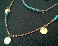 Envío de la gota! Lentejuelas doble de joyería de moda, collares el color turquesa de la joyería nupcial, de cadena corta clavícula barato, china jewelry.15pcs.XR