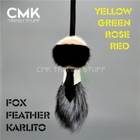 Wholesale Bag Metal Karlito trendy stuff for Real Fox Feather GREEN ROSE YELLOW RED