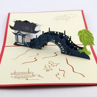 attraction card - d cube life Jiangnan bridges handmade three dimensional greeting cards greeting card Suzhou Attractions