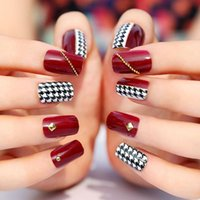 Wholesale Burgundy red false nails art decoration woman nails manicure art ornament display