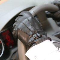 Wholesale M005WC New male leather driving gloves fashion black lambskin gloves warm winter men Genuine leather gloves