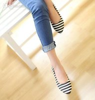 Wholesale Factory price Fashion Flat shoes women fashion Striped Pointed Toe single shoes Slippers Sandals female flat shoes for women