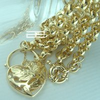 american padlocks - LuxuryN188 CT K Gold Filled Heart Belcher Bolt Ring chain padlock Solid necklace