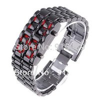 Cheap Men Iron Metal Band Digital Blue LED Lava Wrist Watch Iron Metal 500pcs Free Shipping
