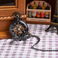 antique military jewelry - Topearl Jewelry Antique Black Pocket Mechanical Watch Chain Fashion Military Luxury Gift Watch HandWinding Vine Pocket Watch