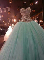 Wholesale 2015 Hot Sale Crystal Quinceanera Dresses Sweetheart Sleeveless Floor Length Green Tulle Lace up Back Real Image Prom Party Ball Gowns