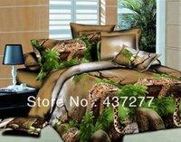 bedding for men comforter sets - 3d leopard on tree bedding sets textile for man polyester reversible quilt duvet cover flat sheet bedclothes comforter set full