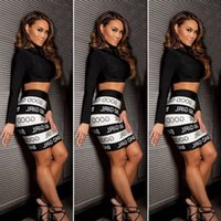 bad caps - New Sexy bad girl Print white and Black Piece Set Women Two Piece Dress Bodycon Outfits Bandage Dresses