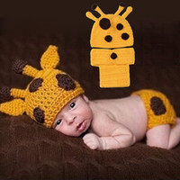 baby giraffe costume - Cute Newborn Baby Infant Fawn Giraffe Design Girl and Boy Costume Photography Props Outfit Crochet Tiny Hats Shorts Clothing Set