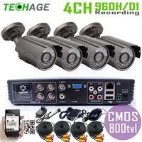 Wholesale 4CH DVR kit Systems CMOS TVL outdoor Warterproof Night Vision IR Camera with IR Cut DIY economical cctv system