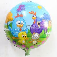 aluminum foil chicken - NEW inch Cartoon birthday aluminum foil galinha pintadinha balloons wedding festa lucky chicken helium ballon