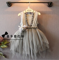 girls party dresses - Wholesales korean kids clothes spring summer girls clothes girls princess party layers of lace feather dress girls wedding dress ZZ