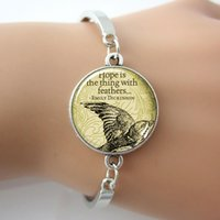 art faith - Art Glass Silver Emily Dickinson Bracelet Eagle Animal Hope Is The Thing With Feather Letter Bracelet New Faith Jewelry For Gift