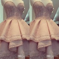 Wholesale Champagne Color Sweetheart Beads Ruffles Tiered Sequin Short Prom Dresses Knee Elegant Dresses Ball Gown Party Evening sh0080