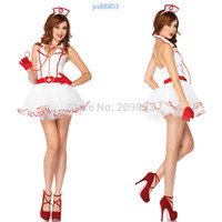 Wholesale w1028 sexy lingerie nurse uniform lace new dress gloves belt hat set costume sleepwear underwear kimono nightwear