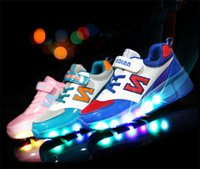 autumn brand roller shoes - Brand New Boy s Girls Children wheelys Led Shoes For Women and Men Breathable PU Sneakers One Wheel Skate Roller Shoe Size