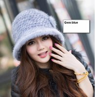 Wholesale Ms mink hat fur hats during the winter Mink fur knitting hat fashion flower POTS hat