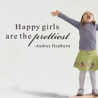 audrey hepburn quote wall decals - Audrey Hepburn quotes Happy girls are the prettiest wall stickers Removable Vinyl decals for girls room wall decor