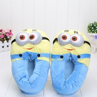 Wholesale 1Pairs Despicable Me Minion Plush Stuffed Slippers Cuddly Fluffy Collectible Dave