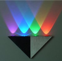 atmosphere walls - W LED Triangular Aluminum Wall Lamp AC85 V Colorful Wall Lights High Power Spot Light Background Atmosphere Bulb