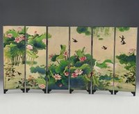 Wholesale ORIENTAL LACQUER HANDWORK OLD PAINTING LOTUS WRITING WORDS SIX FOLD SCREEN DECO