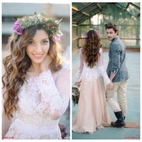 Cheap 2016 Winter Bohemian Wedding Dresses Champagne A Line Long Sleeves Sheer Neckline Lace Appliques Beach Bridal Gowns Custom Made Dress