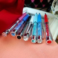 Wholesale Top Head Big Diamond Swarovski Crystal Pen Students Crystalline Lady Ballpoint Pen stationery kinds Design