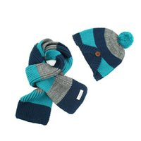 Wholesale Fashion New Winter Striped Children Skullies Beanies Scarf Hat Set Baby Kids Boys Girls Knitted Toddler Hats Caps