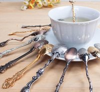 Wholesale 50Pcs Fashion Exquisite Retro Palace Style Coffee Spoon Tea Ice Cream Scoop style Mix Spring Style