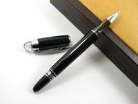 Wholesale Baoer Bright Black Crystal Cap Metal Rollerball Pen