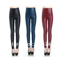 Cheap Europe Women Waist Imitation leather Leggings Ladies Spring and autumn Skinny Thin pencil pants Women Sexy Leggings y407