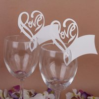 beauty glass table - 50x Beauty Love Hearts Wine Glass Place Cards Wedding Name Party Table Decor