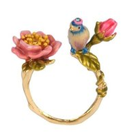 Wholesale Les nereides adjusted bird and pink flower female ring X052