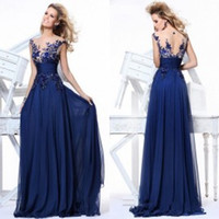 prom dresses with sleeves - On Sale Prom Dresses with Cap Sleeves Illusion Neck Vestidos de fiesta Sheer Evening Dresses with Appliques Royal Blue Backless Ball Gowns