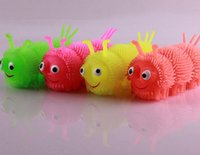 Wholesale Children Toy Caterpillar Toy Built in LED Flashing Light TPR Material Touchness Elastic Finger Toy GL MMC002 Kill Time Coordination Training