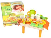 Wholesale France DJECO Tea Combination with cute little Square Table Children s Educational toys Play House