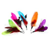 Wholesale Hot Sale Colorful Feather Design Tease Cat Stick Cat Catcher Teaser Toy cat toys