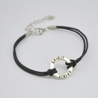 Prix d'usine 50pcs anneau creux beaucoup dangle argent antique plaqué initiale double SPIRIT charmes bracelets