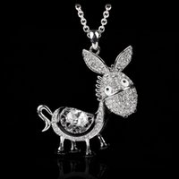 amuse jewelry - New arrival brand crystal zirconia stone amusing donkey pendant necklace cute animals jewelry for women