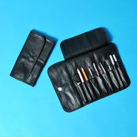 Cheap Wholesale-Luxury Cosmetic Bags for Women Soft Leather Professional Makeup Case Beautician Brushes Toiletry Bag Black Make Up Tool Storage