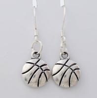 antique basketball - 2016 hot Antique Silver Singe Side Basketball Sports Earrings Silver Fish Ear Hook Chandelier E374 x10 mm
