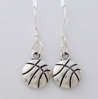 antique basketball - 2017 hot Antique Silver Singe Side Basketball Sports Earrings Silver Fish Ear Hook Chandelier E374 x10 mm
