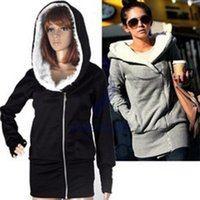 Wholesale fashion style Hot style hooded women s fleece Ms more warm coat size M XL COLORS