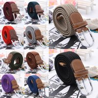Wholesale New Arrival Unisex PU Leather Belts Fashion Accessories Stylish Elastic Weave Needle Buckle Waistband Belts for Men Women QBF